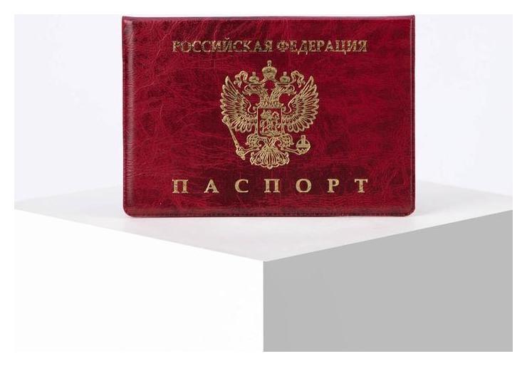Обложка для паспорта горизонтальная, герб, тиснение, цвет бордовый NNB