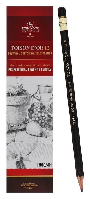 Карандаш профессиональный чернографитный 2.0 мм, Koh-i-noor 1900 4Н, L=175 мм  Koh-i-noor