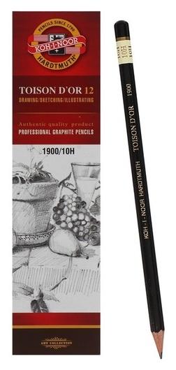 Карандаш профессиональный чернографитный 2.0 мм, Koh-i-noor 1900 10н, L=175 мм  Koh-i-noor