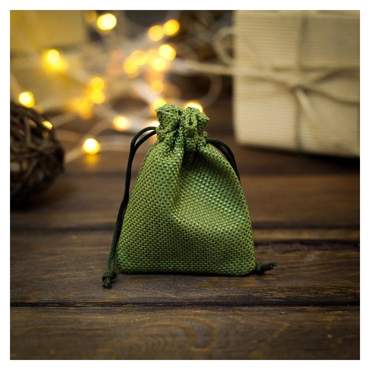 Мешочек подарочный из холщи, зелёный, 7 х 9 см NNB
