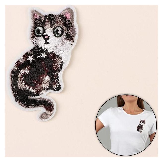 Термоаппликация «Кошка», 9,7 × 4,5 см, цвет серый NNB