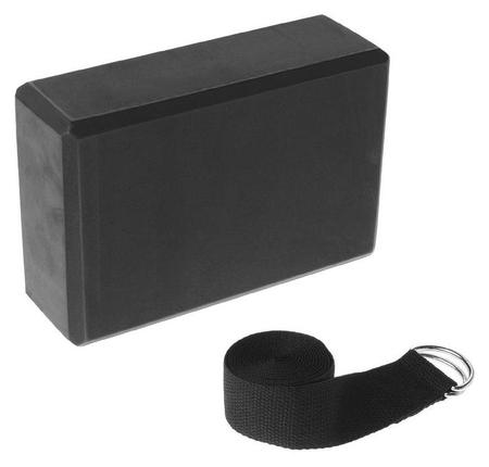 Набор для йоги (Блок+ремень), цвет чёрный  Sangh