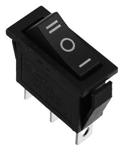 Кнопка - выключатель, трехпозиционный, 250 Вт, 10 А, 3 с, черный с нейтралью NNB