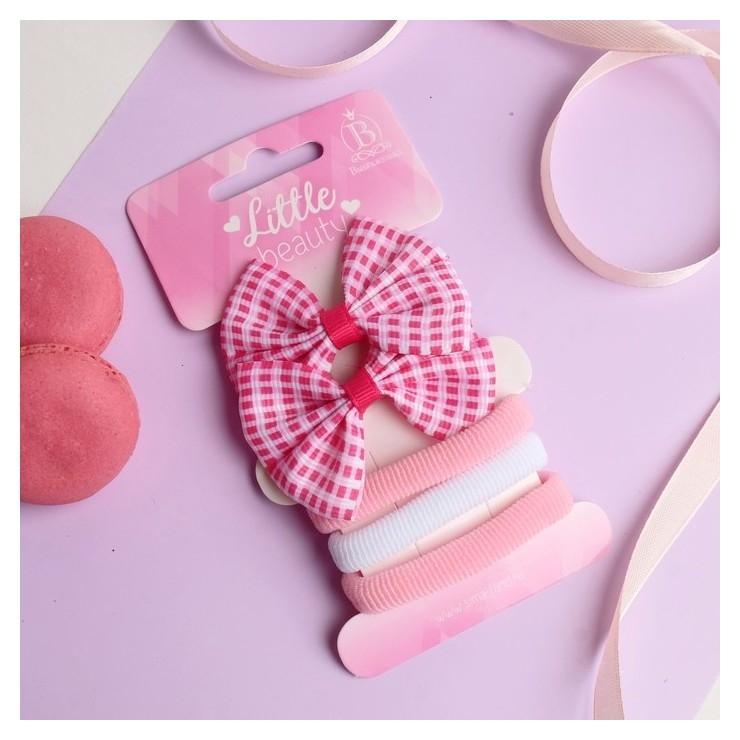 """Набор для волос """"Карапунька"""" (2 зажима, 3 резинки) бантик в клетку розово-белый  Выбражулька"""