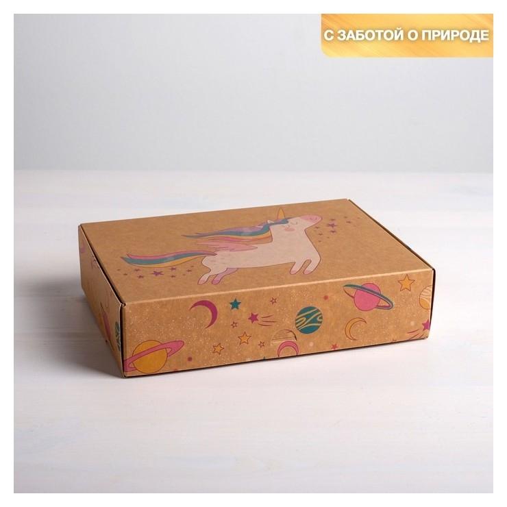 Коробка складная крафтовая «Единорог», 21 × 15 × 5 см Дарите счастье