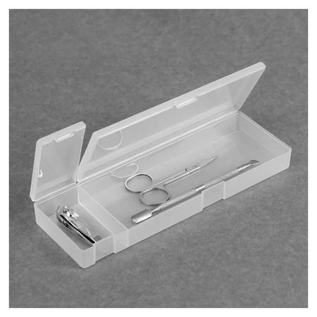 Органайзер для маникюрных/косметических принадлежностей, с крышкой, 2 ячейки, 21 × 7 × 2,5 см, цвет прозрачный  Queen Fair