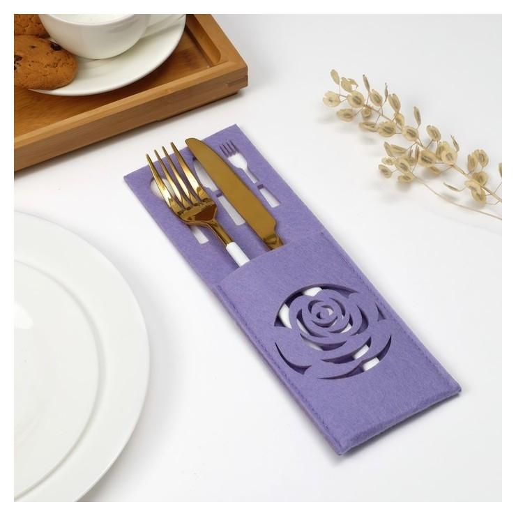 Конверт для столовых приборов доляна «Роза» цвет сиреневый, 9х25 см  Доляна