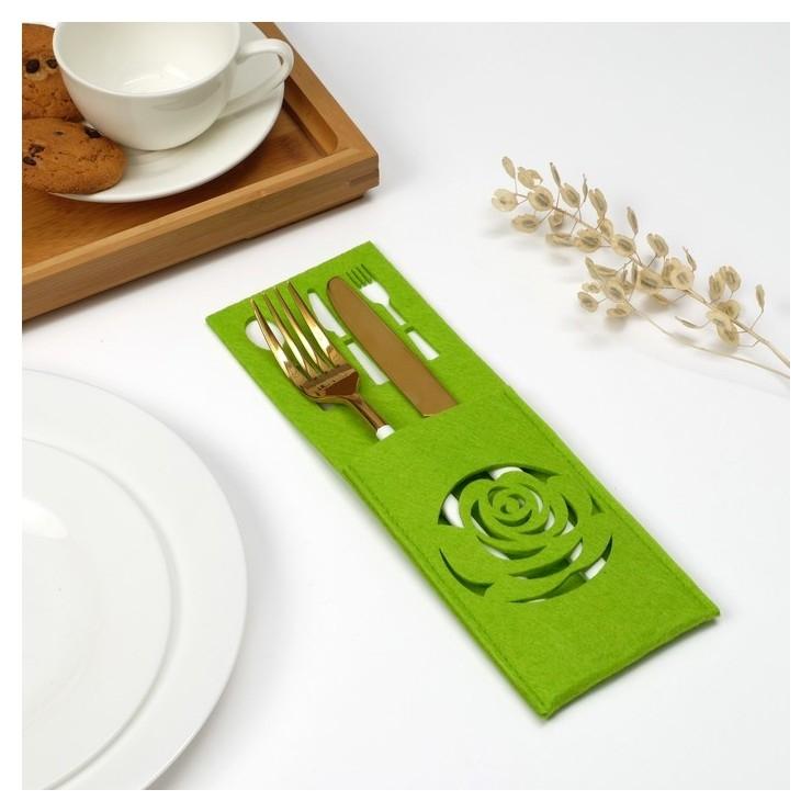 Конверт для столовых приборов доляна «Роза» цвет зелёный, 9х25 см  Доляна