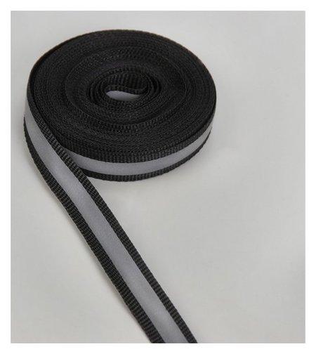 Светоотражающая лента стропа, 10 мм, 5 ± 1 м, цвет чёрный  Арт узор