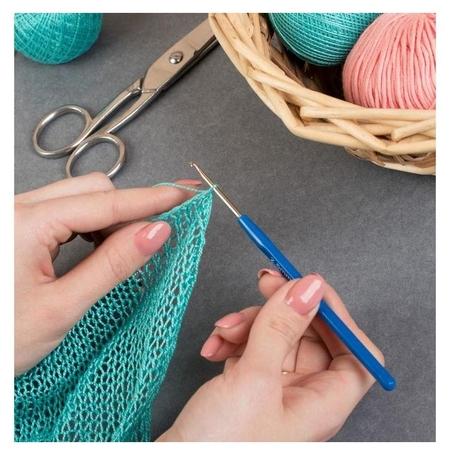 Крючок для вязания, с пластиковой ручкой, D = 2,5 мм, 13,5 см, цвет синий  Арт узор