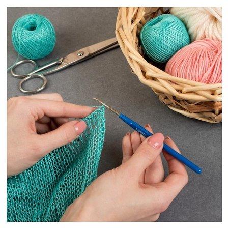 Крючок для вязания, с пластиковой ручкой, D = 1,5 мм, 13,5 см, цвет синий  Арт узор