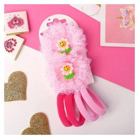 """Набор для волос """"Устинья"""" (4 резинки 4 см, 2 зажима 6 см) цветочек, розовый  NNB"""