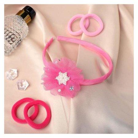 """Набор для волос """"Лада"""" (Ободок, 4 резинки) жемчуг-цветочек, розовый  Выбражулька"""