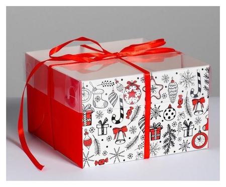 Коробка для капкейка «Время добрых подарков», 16 × 16 × 10 см  Дарите счастье