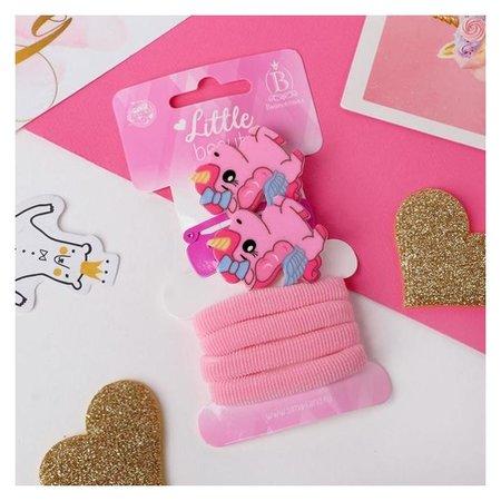 """Набор для волос """"Нежность"""" (4 резинки, 2 зажима, 2 невидимки) 4 и 4,5 см, розовые единорожки 50653  Выбражулька"""