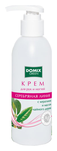 Крем для рук и ногтей с кератином и маслом чайного дерева и наносеребром  Domix Green Professional