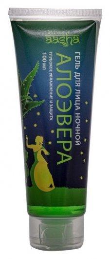 Гель для лица ночной Алоэ Вера Глубокое увлажнение и защита  Aasha Herbals