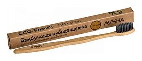 Бамбуковая зубная щетка с угольной щетиной, средняя  Aasha Herbals