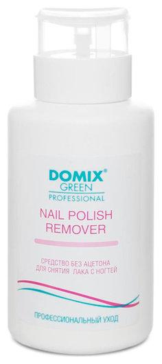 Средство для снятия лака с ногтей без ацетона с помпой Nail polish remover Domix Green Professional