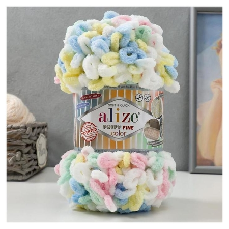 "Пряжа ""Puffy Fine Color"" 100% микрополиэстер 14,5м/100гр (5949 детский)  Alize"