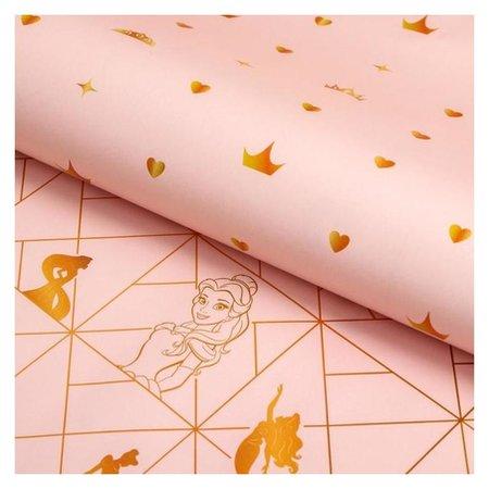 Бумага упаковочная глянцевая двусторонняя, принцессы, 60x90 см  Disney