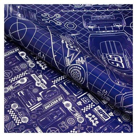 Бумага упаковочная глянцевая двусторонняя, тачки, 60x90 см  Disney