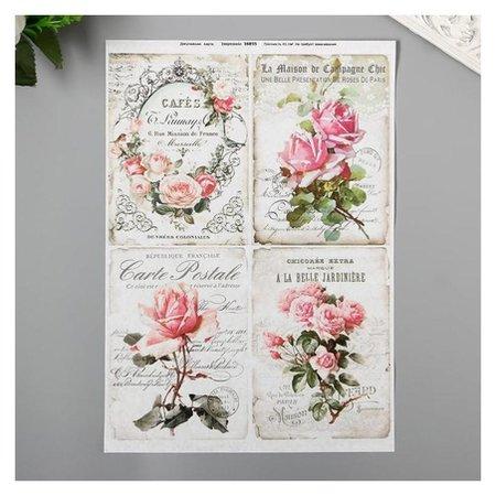 "Декупажная карта ""Розовые цветы"" плотность 45г/м2, формат А4  NNB"