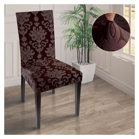 Чехол на стул трикотаж жаккард, цвет коричневый  Marianna