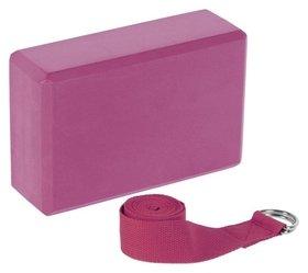 Набор для йоги (Блок+ремень), цвет розовый  Sangh