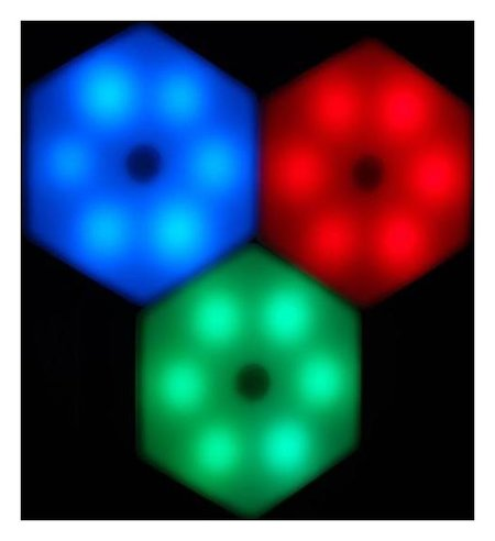 """Набор светильник сенсорный """"Соты с пультом"""" 3 шт, 85х75мм, Rgb, 3*ааа (Не в компл.)  LuazON"""