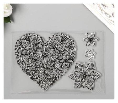 Штамп для творчества силикон Цветочное сердце 10х14,5 см NNB