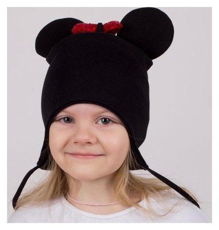 Шапка мышка с завязками, цвет чёрный/принт бантик, размер 42-46  Hoh loon