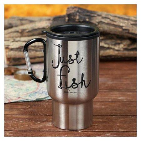 """Термостакан с карабином """"Just Fish"""", 450 мл, сохраняет тепло 4 ч  Mode Forrest"""