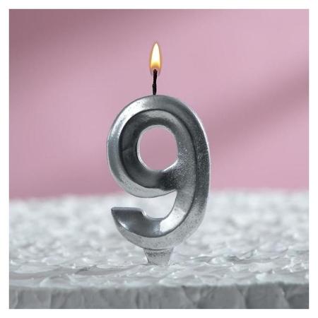 """Свеча восковая для торта, цифра """"9"""", хром  Страна Карнавалия"""