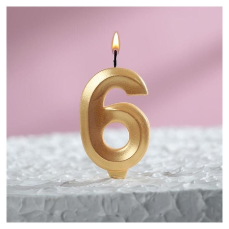"""Свеча восковая для торта, цифра """"6"""", золотой металлик"""