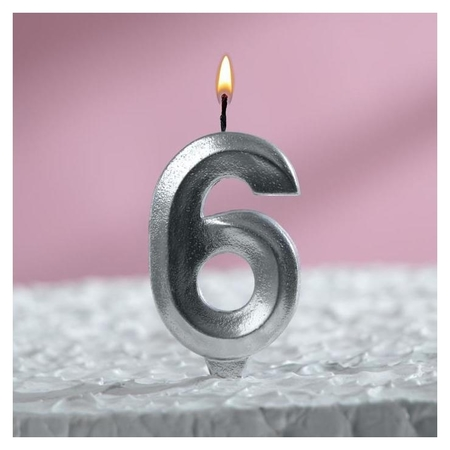 Свеча восковая для торта, цифра 6, хром Страна Карнавалия