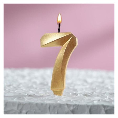Свеча восковая для торта, цифра 7, золотой металлик Страна Карнавалия