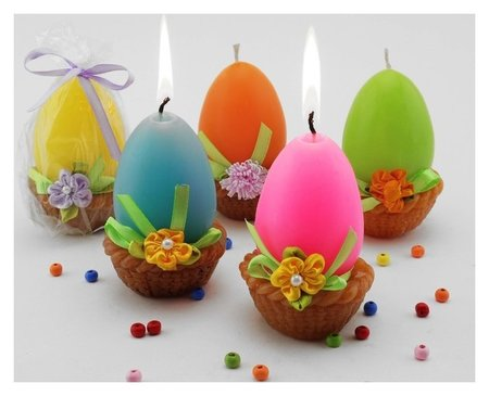Декоративная свеча Яйцо в корзинке NNB