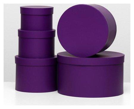 Набор круглых коробок 5 в 1 30 х 30 х 17 - 15 х 15 х 10 см пурпурный NNB