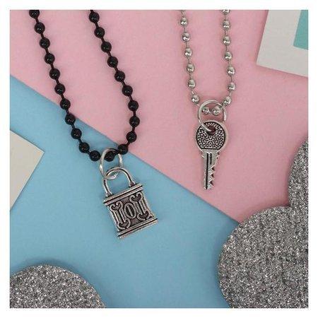 """Кулоны """"Неразлучники"""" замочек и ключ, цвет чёрно-серебряный, 45 см  Queen Fair"""