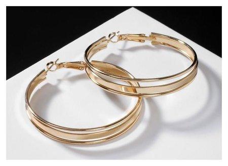 Серьги-кольца Карма крупная линия, цвет золото, D=3,5 Queen fair