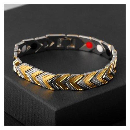 Браслет мужской Цепь галочки, цвет золотисто-серебряный, L=21 Queen fair