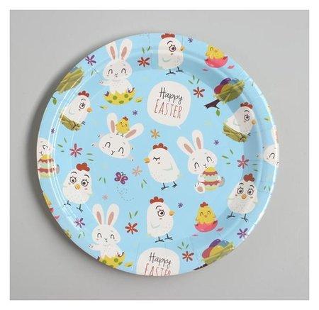 Тарелка бумажная «Счастливой пасхи», набор 6 шт., цвет голубой Страна Карнавалия