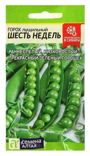 """Семена горох """"Шесть недель"""", лущильный, скороспелый, цп, 10 г  Семена Алтая"""