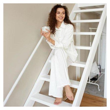 Пижама женская (Сорочка, брюки) Minaku: Home Collection цвет белый, р-р 52  Minaku