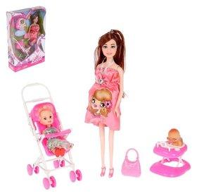 """Кукла модель беременная """"Лиза"""" с малышкой, коляской и аксессуарами"""