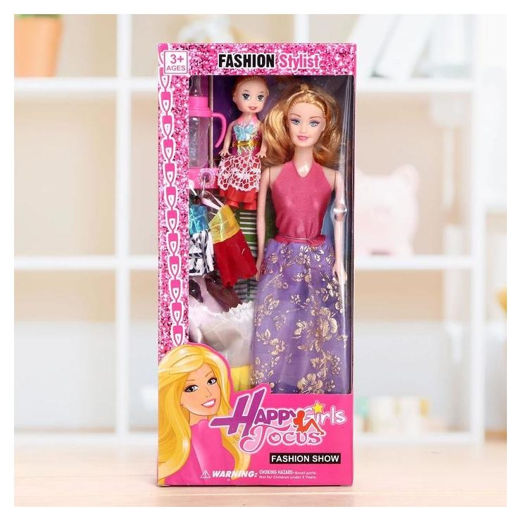 Кукла-модель «Рита» с малышкой, с набором платьев NNB