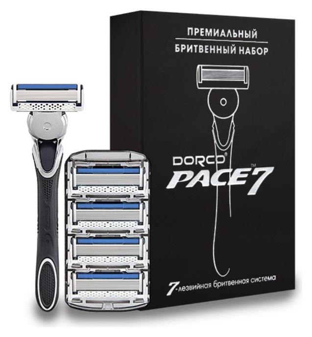 Бритвенный станок Dorco расе7, 5 кассет в подарочной упаковке с серебряным тиснением  Dorco