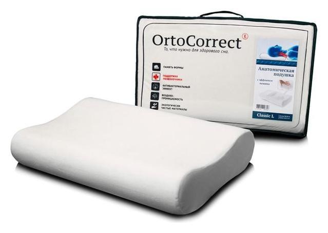 Анатомическая подушка Ortocorrect Classic L 58х37, валики 9/11 OrtoCorrect
