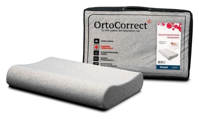 Анатомическая подушка Ortocorrect Classic Simple M 58х37, валики 9/11  OrtoCorrect